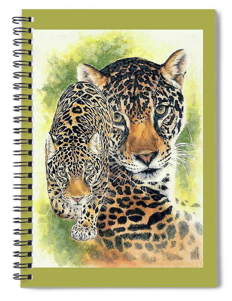 Jaguar Spiral Notebook featuring the mixed media Compelling by Barbara Keith
