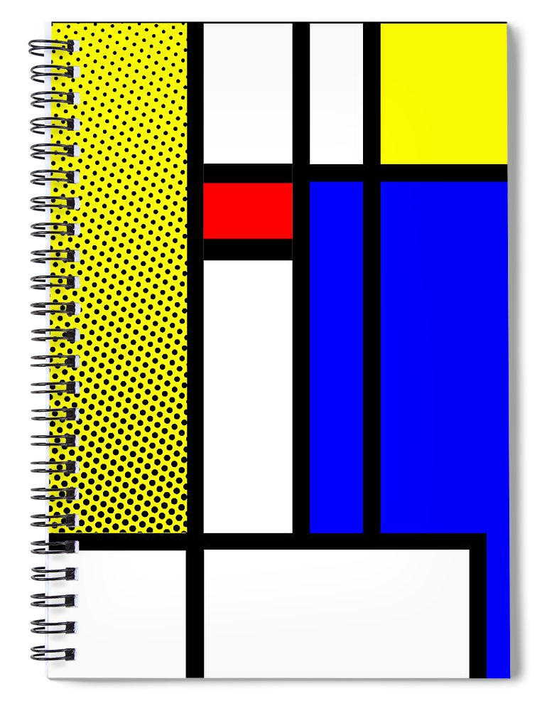 Mondrian Spiral Notebook featuring the mixed media Composition 120 by Dominic Piperata