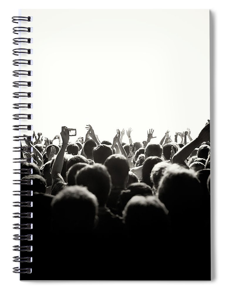 Rock Music Spiral Notebook featuring the photograph Concert Crowd by Alenpopov
