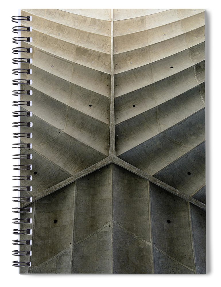 Shadow Spiral Notebook featuring the photograph Concrete Fishbone Or Leaf Design by Olrat