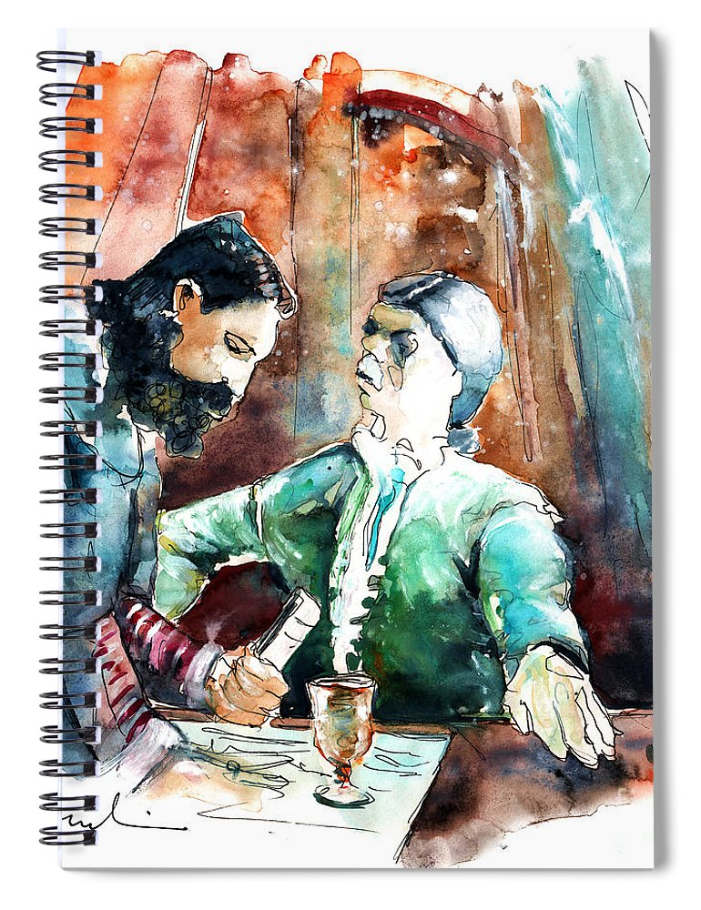 Portugal Spiral Notebook featuring the painting Conquistadores on The Boat in Vila do Conde in Portugal by Miki De Goodaboom