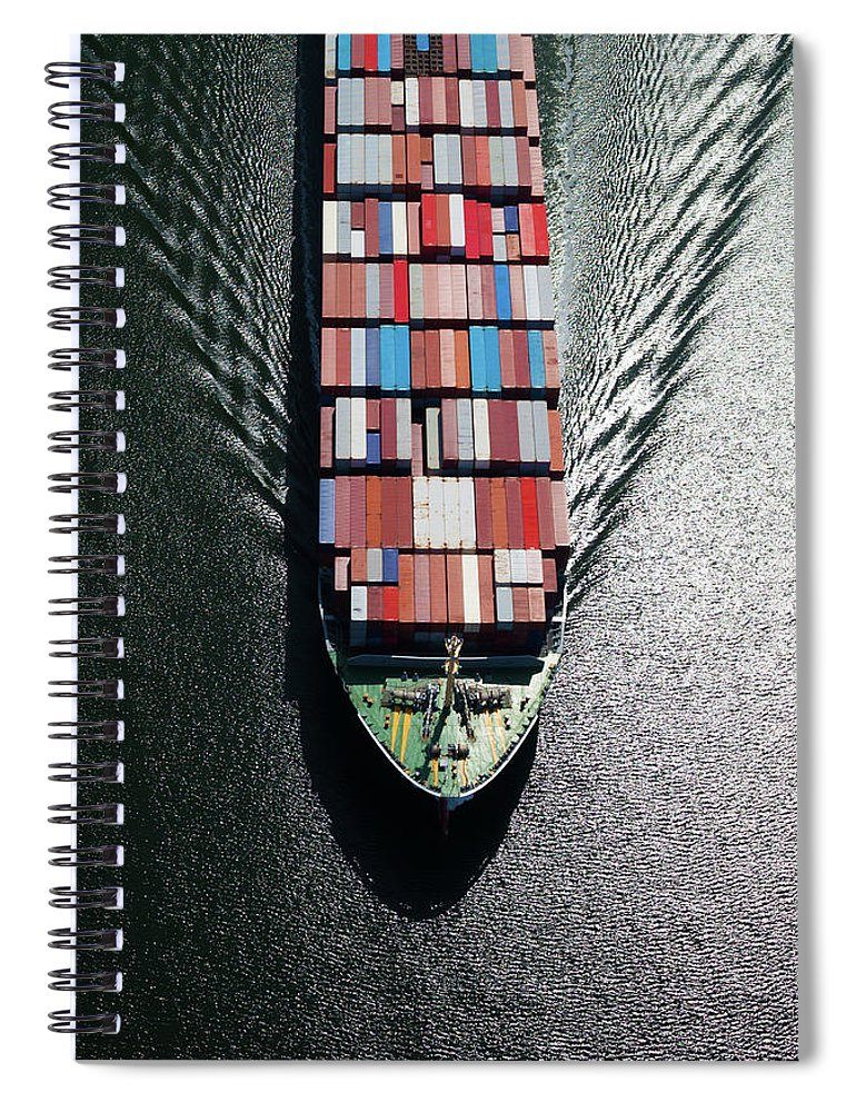 Freight Transportation Spiral Notebook featuring the photograph Container Ship Bow by Dan prat