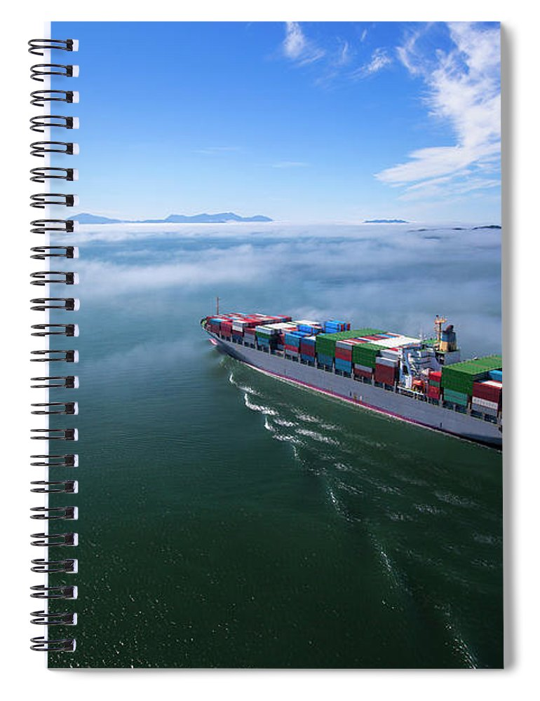 Freight Transportation Spiral Notebook featuring the photograph Container Ship by Dan prat