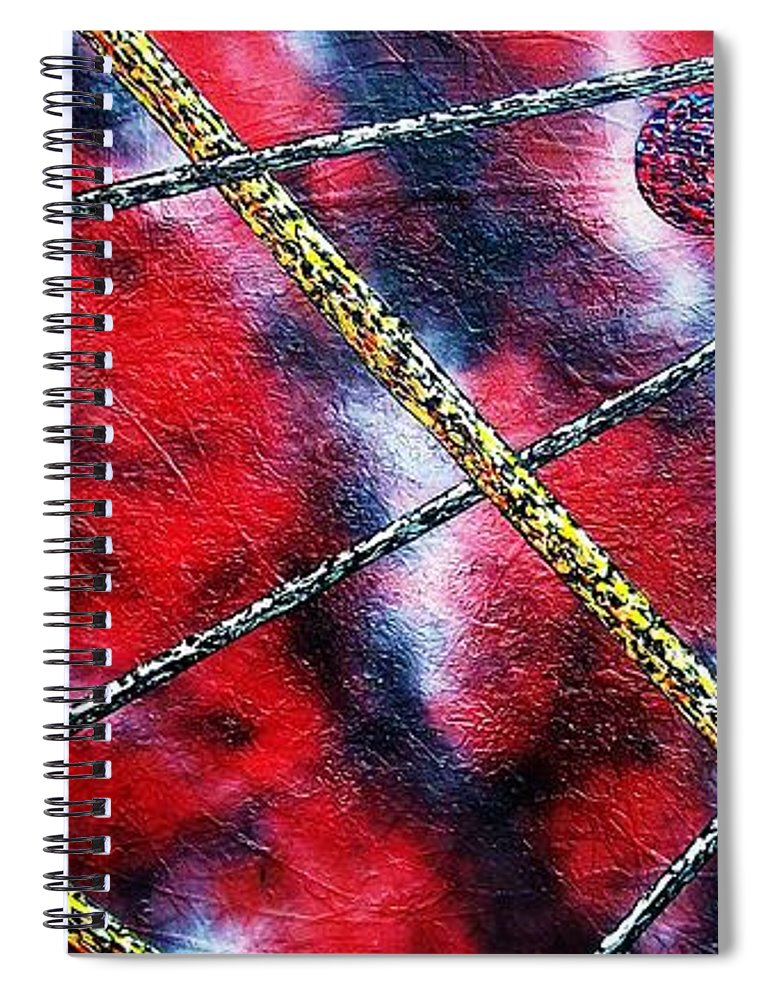 Abstract Spiral Notebook featuring the painting Continuum IV red sky by Micah Guenther