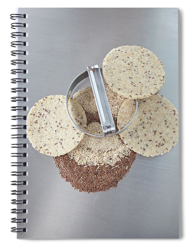 Flax Seed Spiral Notebook featuring the photograph Cookie Cutter With Dough Rounds by Laurie Castelli