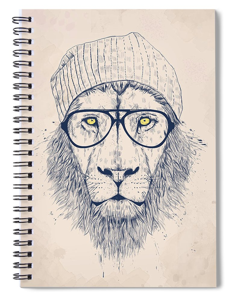Lion Spiral Notebook featuring the digital art Cool lion by Balazs Solti