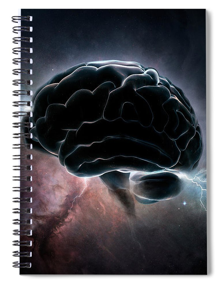 Brain Spiral Notebook featuring the digital art Cosmic Intelligence by Johan Swanepoel