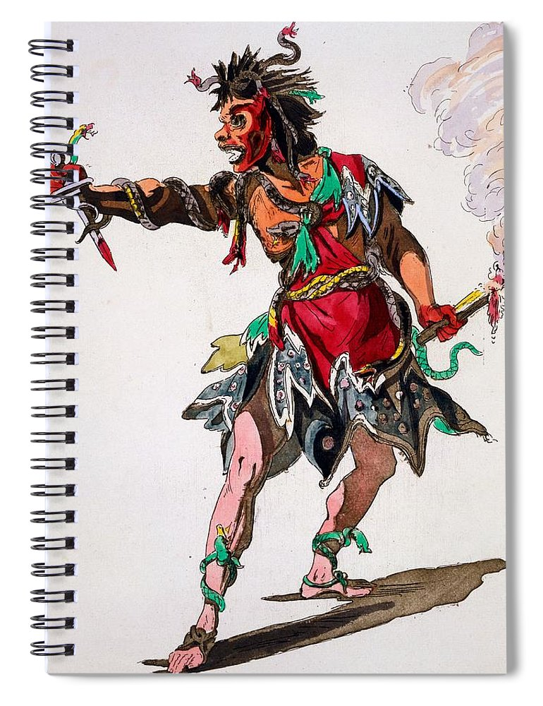 Costume Spiral Notebook featuring the drawing Costume Design For A Fury by French School