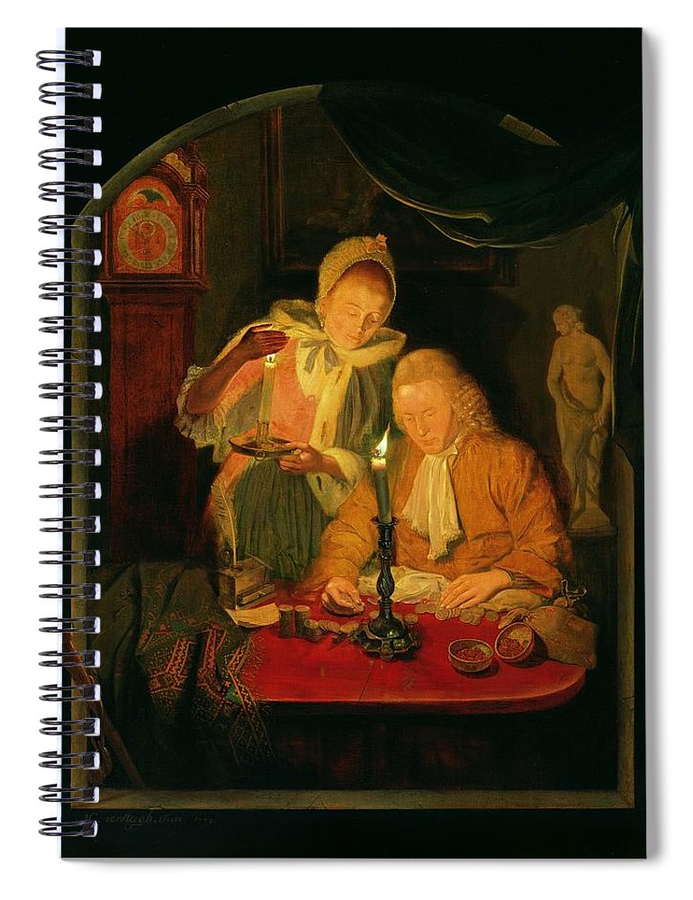 Interior Spiral Notebook featuring the photograph Couple Counting Money By Candlelight, 1779 Panel by Michiel Versteegh