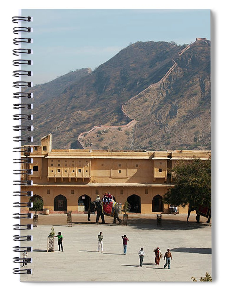 Shadow Spiral Notebook featuring the photograph Courtyard Of Amer Fort, Rajasthan by Bjarte Rettedal