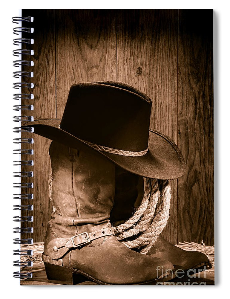 d139f892fe0 Boots Spiral Notebook featuring the photograph Cowboy Hat And Boots by  Olivier Le Queinec