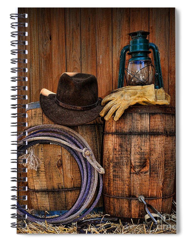 fe1d7d73d85 Barn Spiral Notebook featuring the photograph Cowboy Hat And Bronco Riding  Gloves by Paul Ward