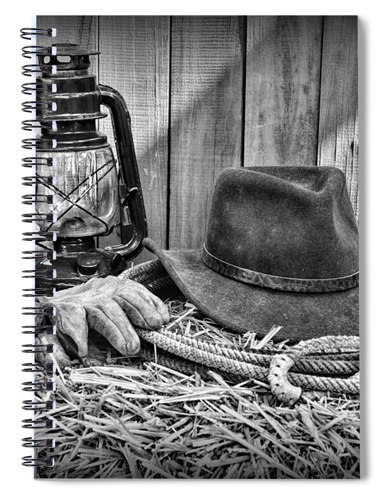 c45111853271e Barn Spiral Notebook featuring the photograph Cowboy Hat And Rodeo Lasso In  A Black And White