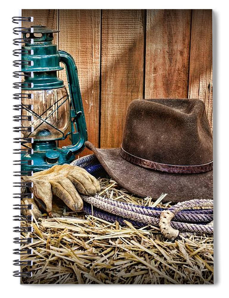 787f94c4edc Barn Spiral Notebook featuring the photograph Cowboy Hat And Rodeo Lasso by Paul  Ward