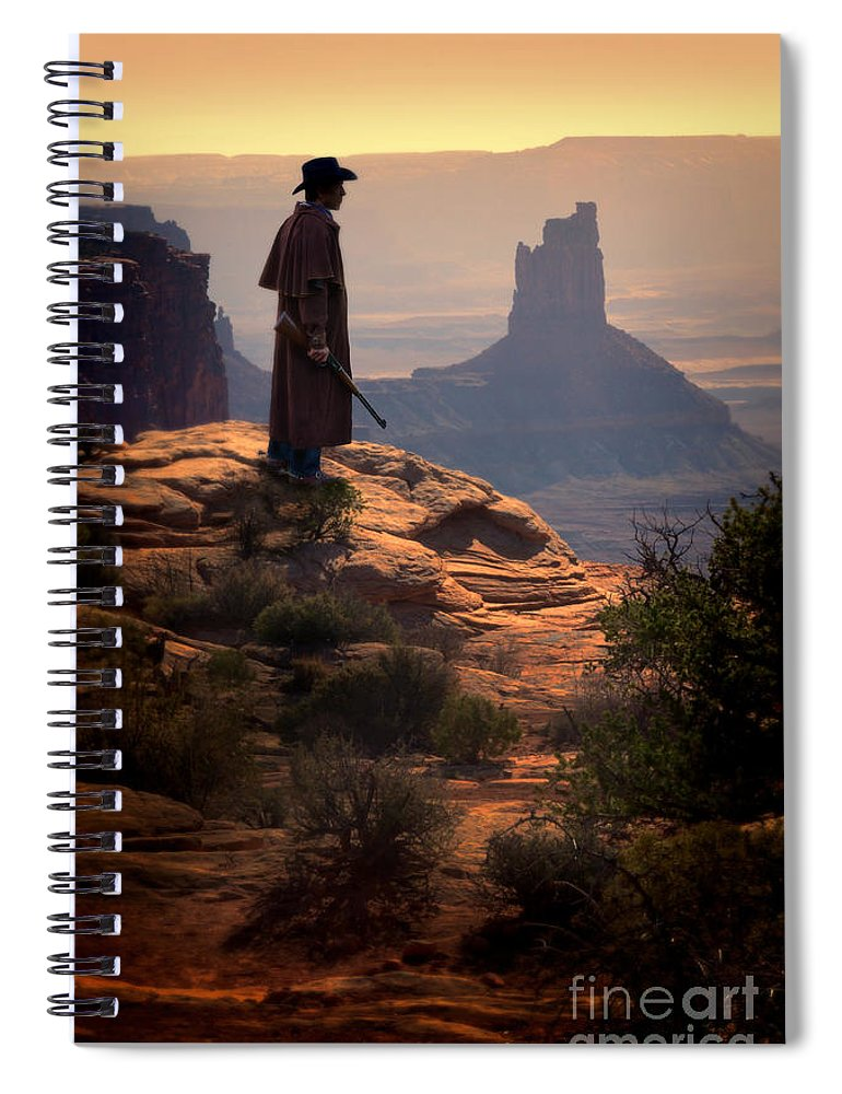 Cowboy Spiral Notebook featuring the photograph Cowboy On A Cliff by Jill Battaglia