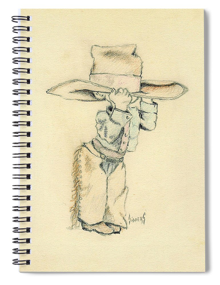 Cowboy Spiral Notebook featuring the drawing Cowboy by Sam Sidders