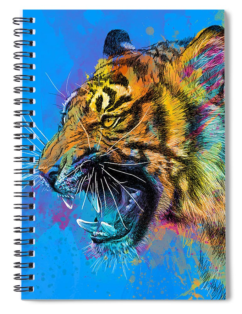 Tiger Spiral Notebook featuring the digital art Crazy Tiger by Olga Shvartsur