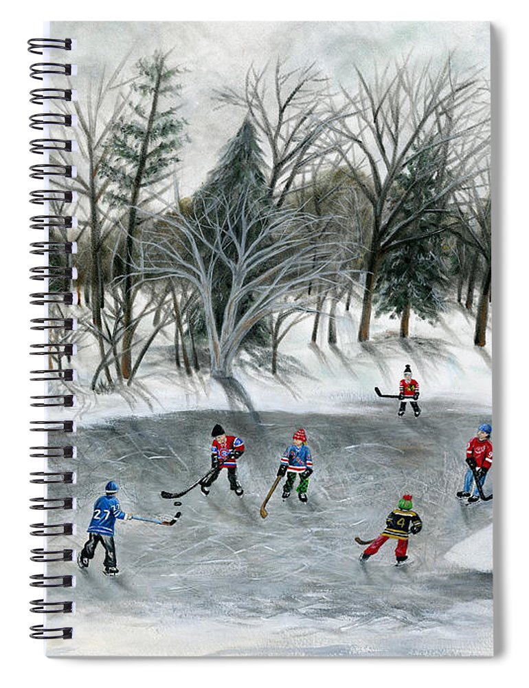 Hockey Spiral Notebook featuring the painting Credit River Dreams by Brianna Mulvale