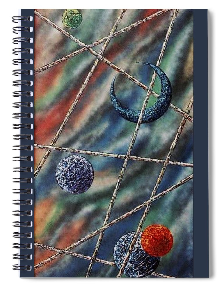 Abstract Spiral Notebook featuring the painting Crescent by Micah Guenther