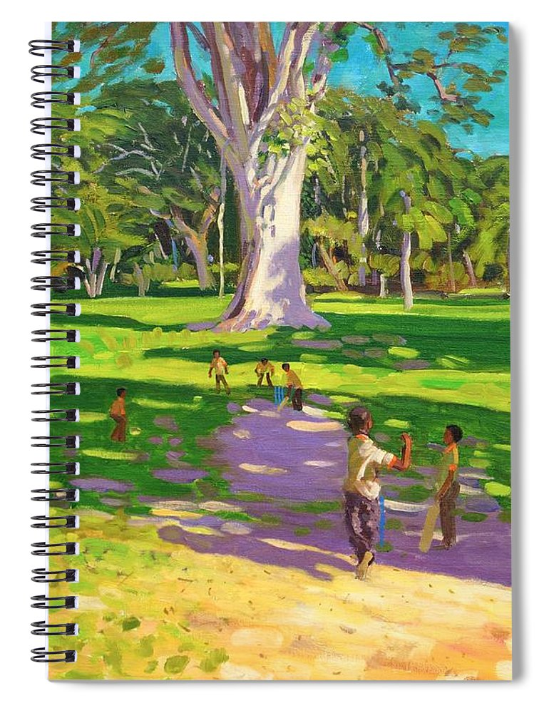 Cricket Spiral Notebook featuring the painting Cricket Match St George Granada by Andrew Macara