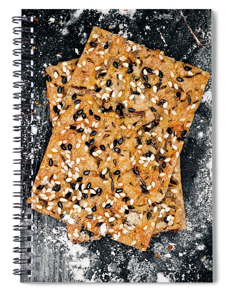 Sweden Spiral Notebook featuring the photograph Crispbread With Thyme On Metal Sheet by Johner Images