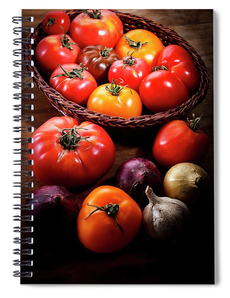 Yield Sign Spiral Notebook featuring the photograph Crop Tomatoes by Letty17