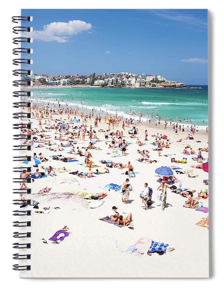 Water's Edge Spiral Notebook featuring the photograph Crowded Bondi Beach, Sydney, Australia by Matteo Colombo