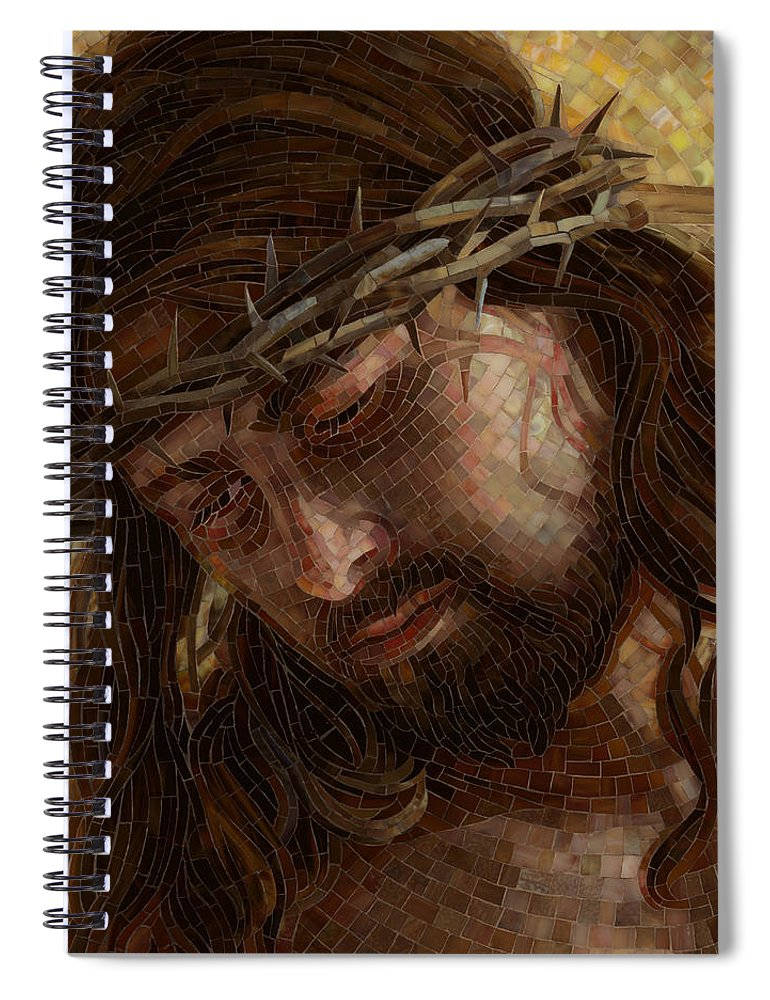 Jesus Spiral Notebook featuring the painting Crown Of Thorns Glass Mosaic by Mia Tavonatti