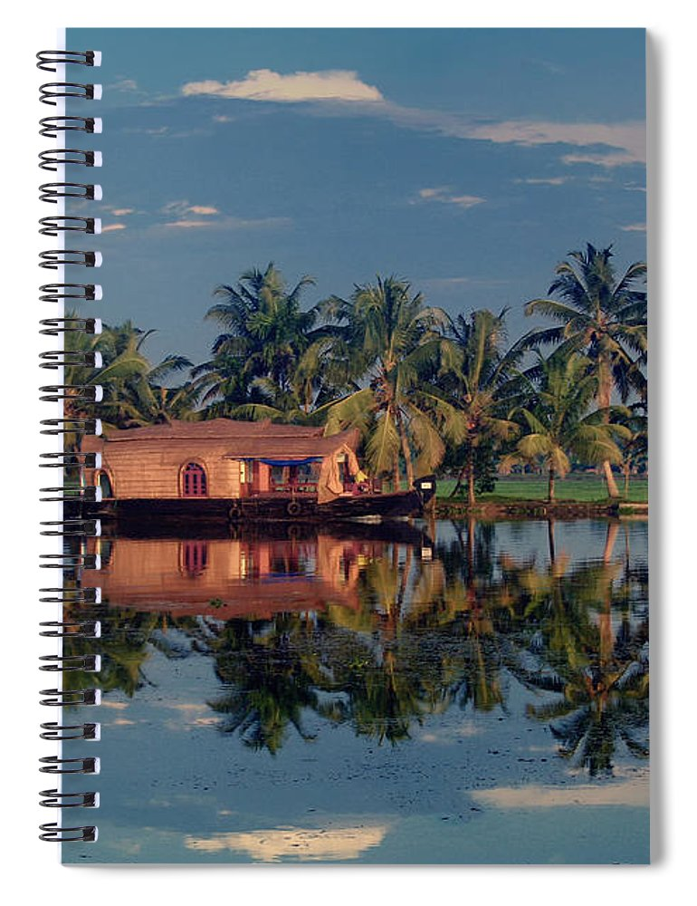 Kettuvallam Spiral Notebook featuring the photograph Cruising The Backwaters.. by A Rey