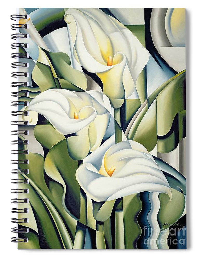 Cubist Spiral Notebook featuring the painting Cubist lilies by Catherine Abel