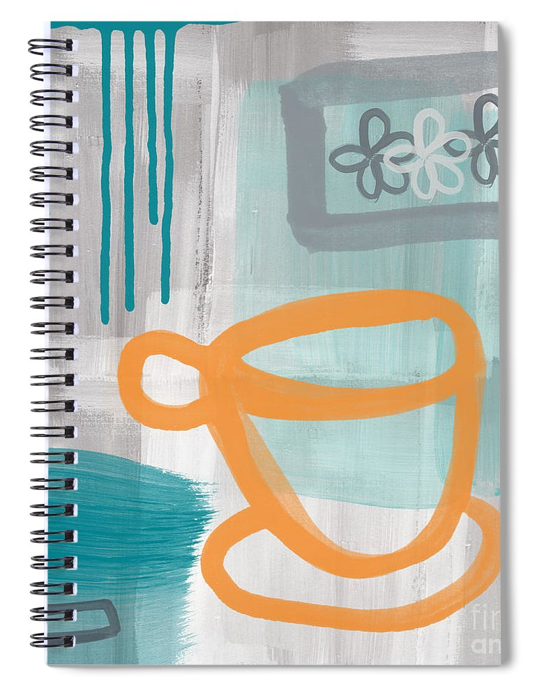 Coffee Spiral Notebook featuring the painting Cup Of Happiness by Linda Woods