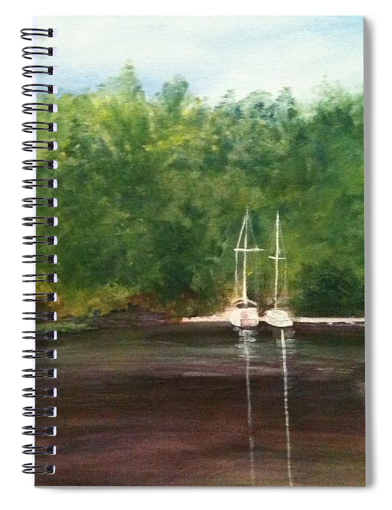 Plein Aire Spiral Notebook featuring the painting Curtain's Marina by Sheila Mashaw