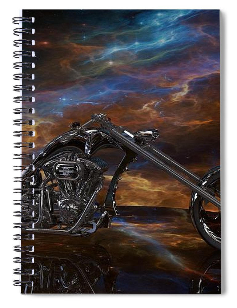Custom Chopper Spiral Notebook featuring the digital art Custom Black Chopper by Louis Ferreira