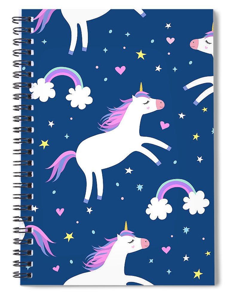 Horse Spiral Notebook featuring the digital art Cute Cartoon Colorful Seamless Pattern by Ekaterina Bedoeva