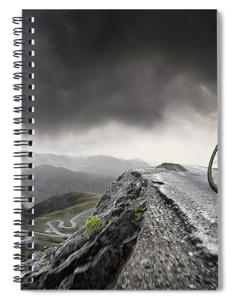 Sports Helmet Spiral Notebook featuring the photograph Cyclist Climbs To The Top by Peepo