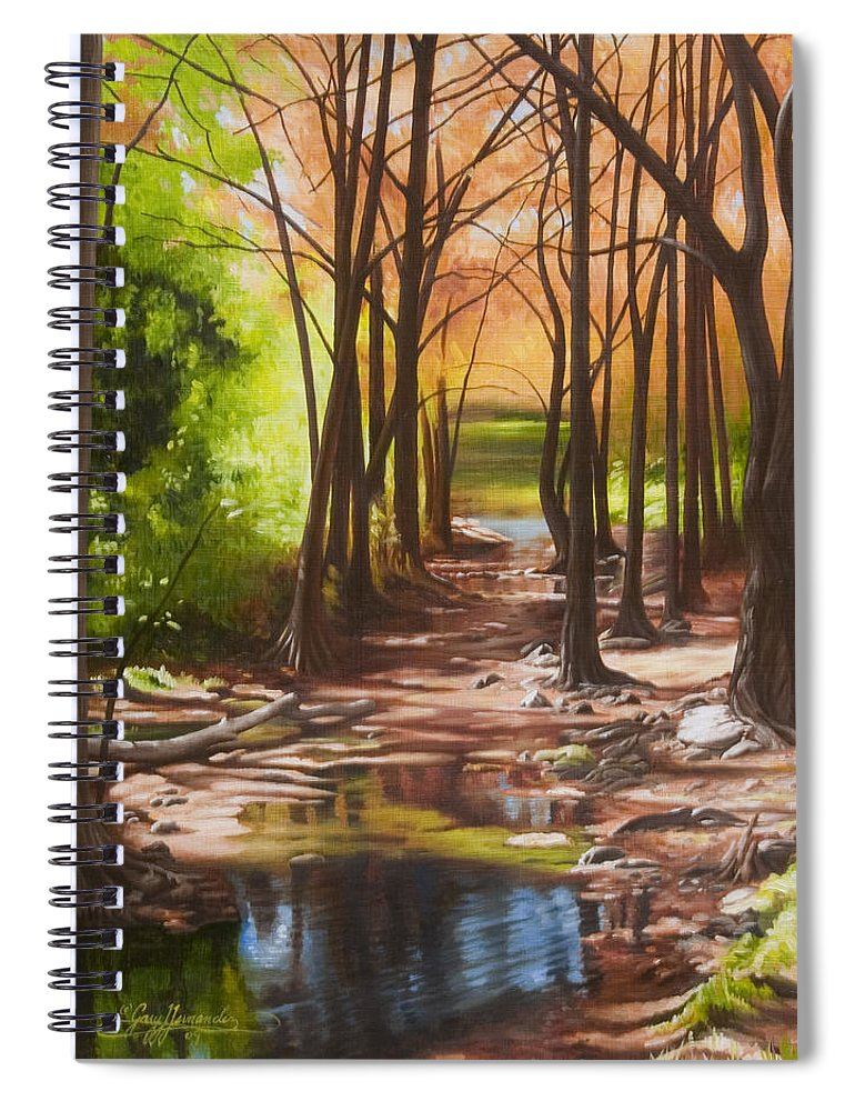 Landscape Spiral Notebook featuring the painting Cypress Creek in Autumn by Gary Hernandez
