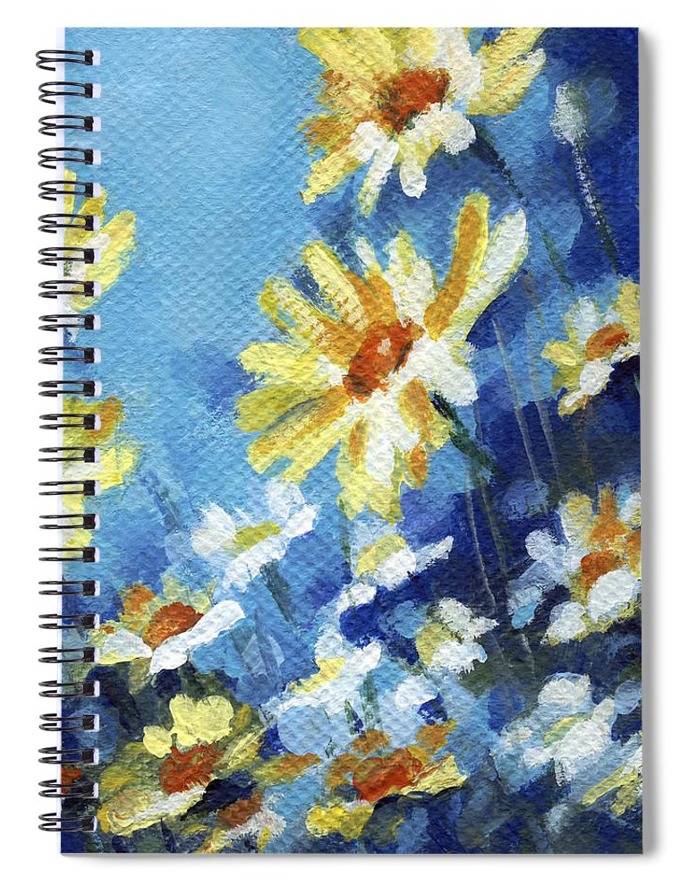 Daisy Spiral Notebook featuring the painting Daisy Field by Natasha Denger