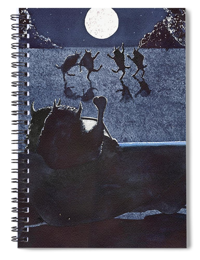 Buffalo Spiral Notebook featuring the painting Dance by the light of the moon by Catherine G McElroy