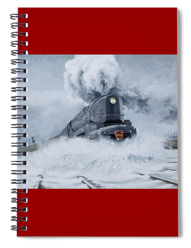 Trains Spiral Notebook featuring the painting Dashing Through the Snow by David Mittner