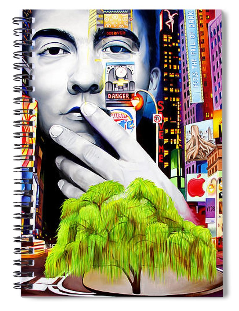 The Dave Matthews Band Spiral Notebook featuring the painting Dave Matthews Dreaming Tree by Joshua Morton