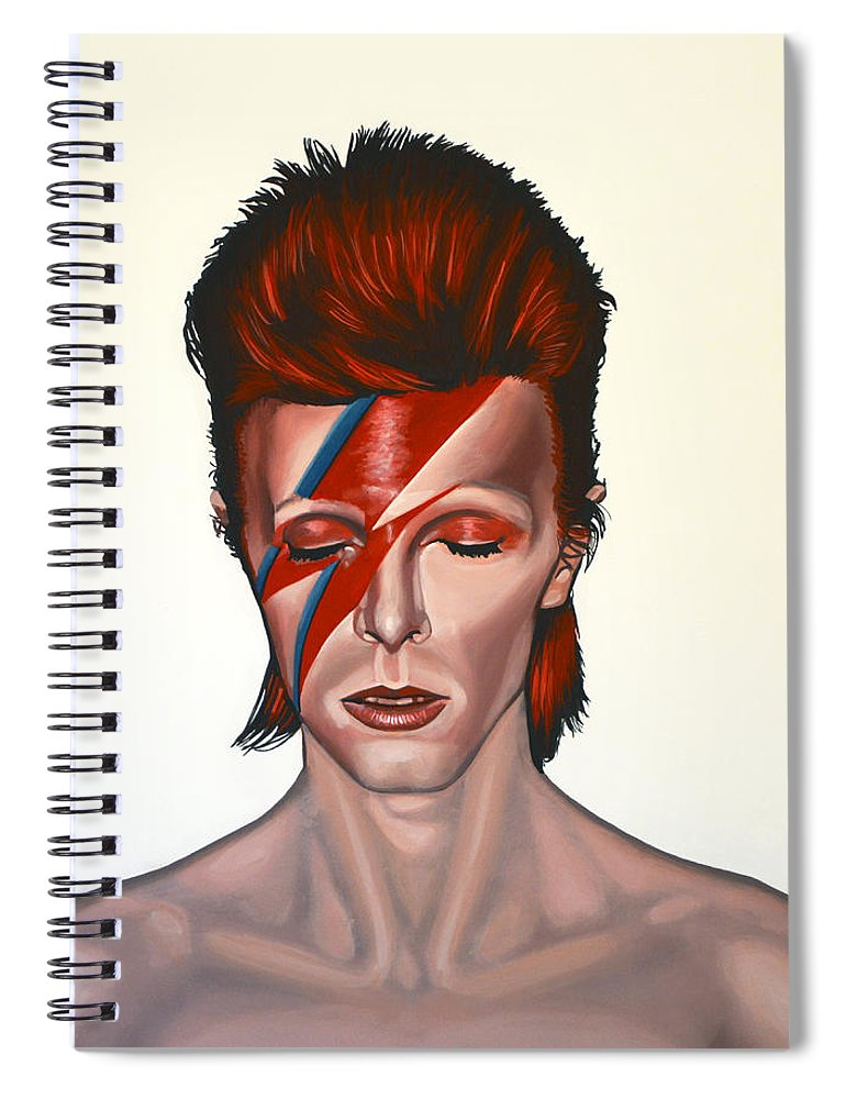 David Bowie Spiral Notebook featuring the painting David Bowie Aladdin Sane by Paul Meijering