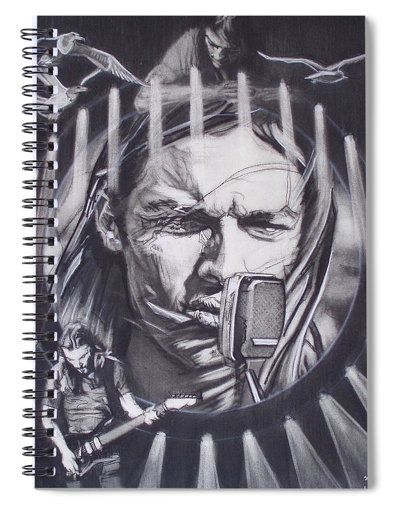 Charcoal On Paper Spiral Notebook featuring the drawing David Gilmour Of Pink Floyd - Echoes by Sean Connolly