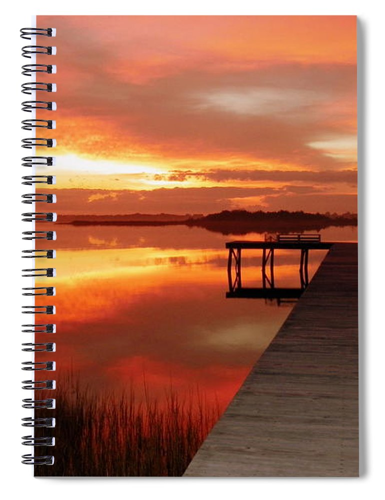 Orange Waterscapes Spiral Notebook featuring the photograph Dawn Of New Year by Karen Wiles