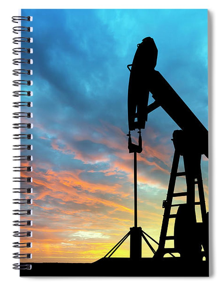 Shadow Spiral Notebook featuring the photograph Dawn Over Petroleum Pump by Grafissimo