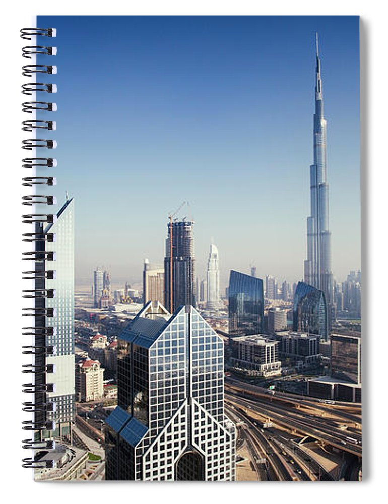 Downtown District Spiral Notebook featuring the photograph Dbuai Sky Line With Traffic Junction by Tempura