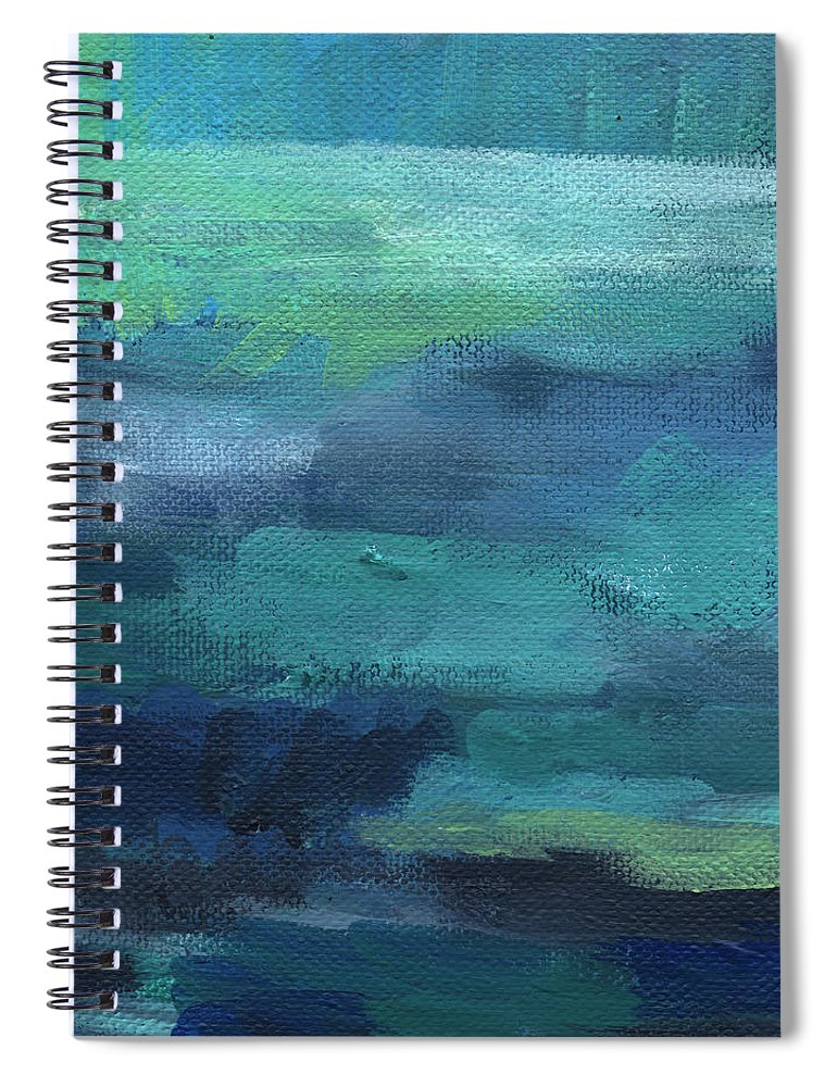 Blue Spiral Notebook featuring the painting Tranquility- abstract painting by Linda Woods
