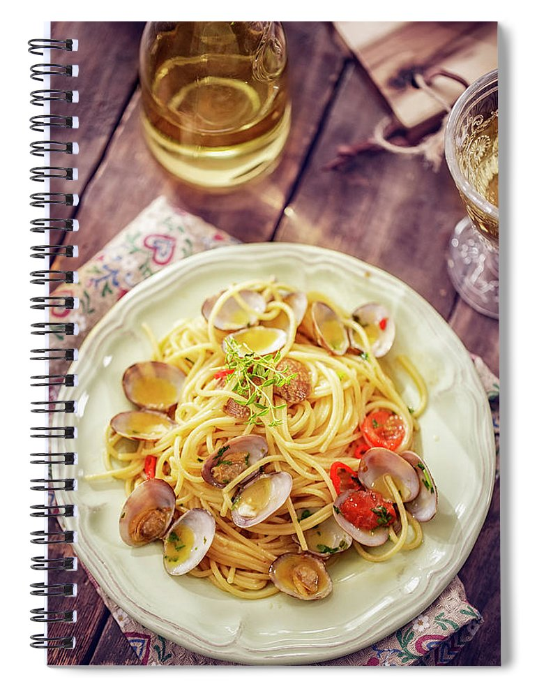 Italian Food Spiral Notebook featuring the photograph Delicious Spaghetti Alla Vongole Served by Gmvozd