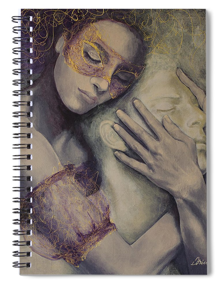 Fantasy Spiral Notebook featuring the painting Delusion by Dorina Costras