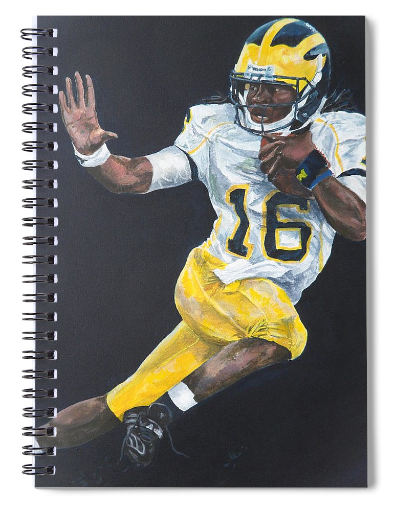 Denard Robinson Spiral Notebook featuring the painting Denard Heisman by Travis Day