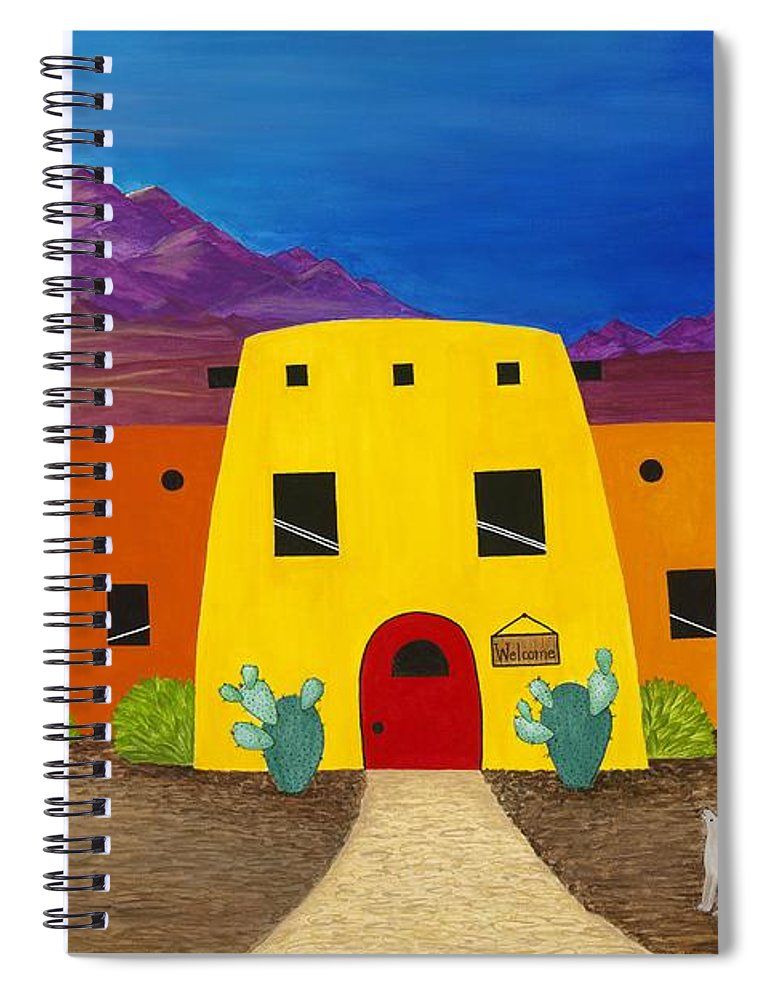 Whimsicle Desert Inn Has Vacancy Spiral Notebook featuring the painting Desert Oasis by Carol Sabo